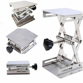 Stainless Steel Adjustable Lab Stand Table Rack Scissor Lab-Lift Lifter for Science Experiment 10 x 10cm Woodworking Benches