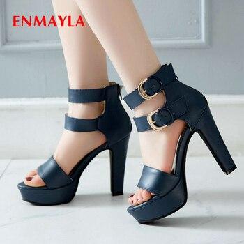 ENMAYLA PU Solid Zip Fashion Cover Heel Buckle Womens Shoes Round Toe 2020 High Heels Sandals Women Platform High Super Sandals