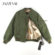 JAZZEVAR2019 חדש סתיו חורף אופנה רחוב מפציץ מעיל נשים רוכסן בסיסי מעיל cusual כותנה הלבשה עליונה באיכות טובה 86220