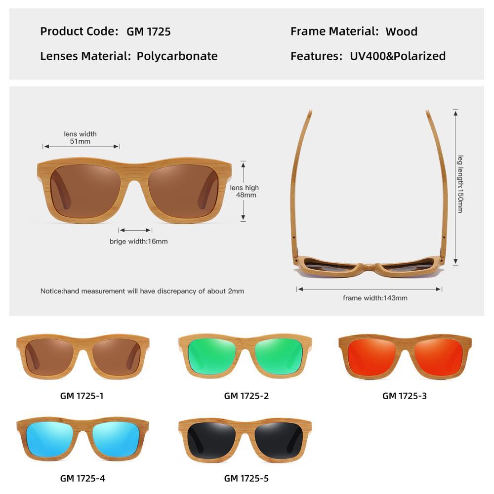 GM Vintage Bambu Kayu Kacamata Buatan Tangan Terpolarisasi Cermin - Aksesori pakaian - Foto 5