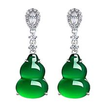 Beautiful gourd shape created green peridot white CZ womans silver color earring earrings
