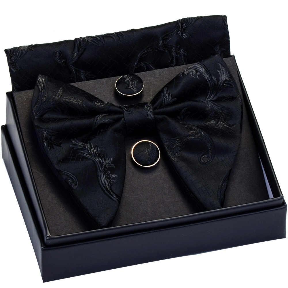 Ricnais moda ipek büyük papyon mendil kol düğmeleri seti mavi siyah Paisley jakarlı Hanky papyon erkekler için iş kutusu