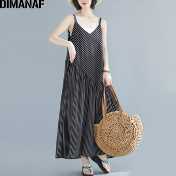 DIMANAF Plus Size Women Jumpsuits Chiffon Summer Wide Legs Long Pants Sleeveless Trousers Clothing Loose Vintage Black Striped plus size plain loose wide legs jumpsuit