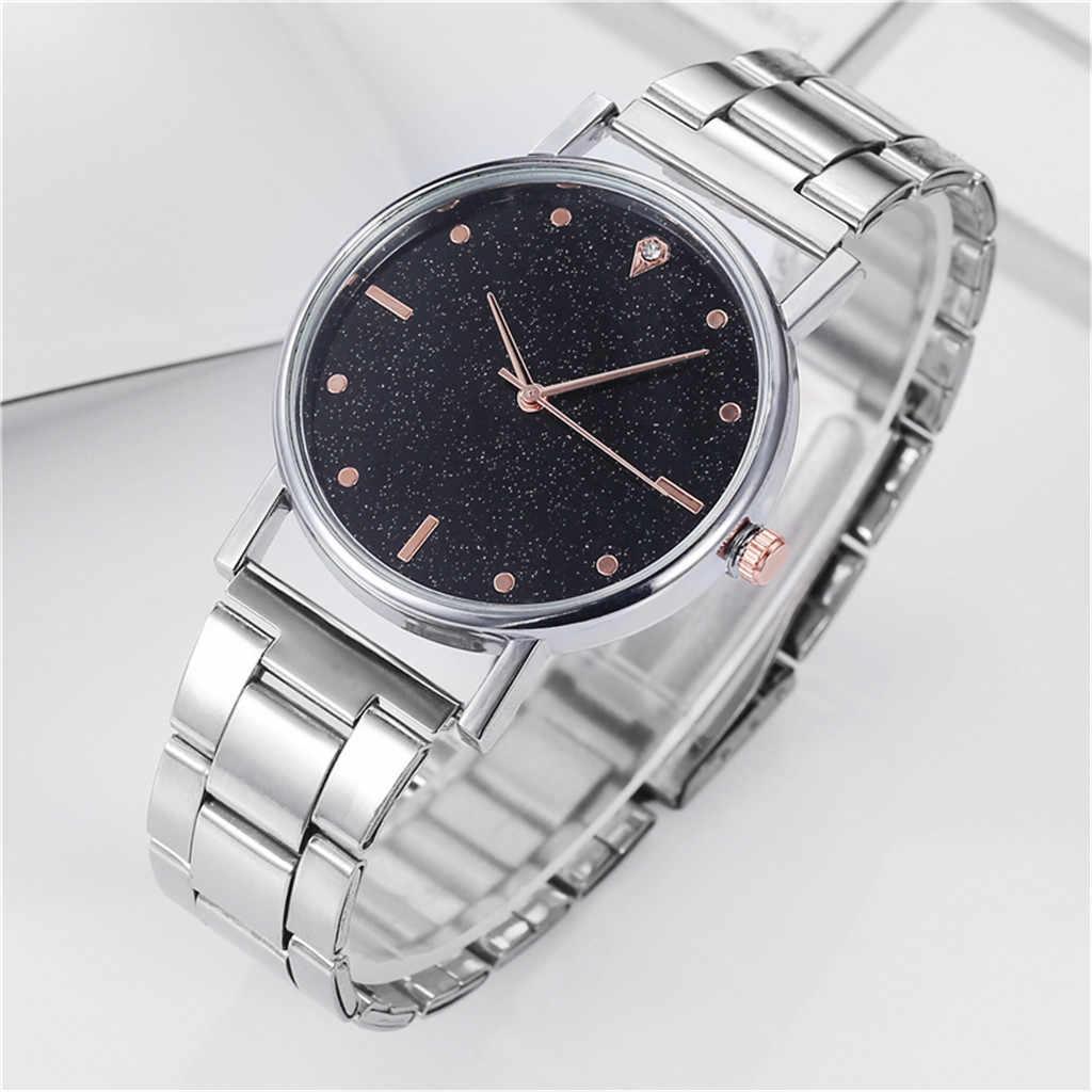 Relojes de pulsera de acero para mujer de moda 2019, relojes de lujo con esfera de estrellas de diamante, relojes de vestir para mujer, reloj Casual con Montre analógico de cuarzo