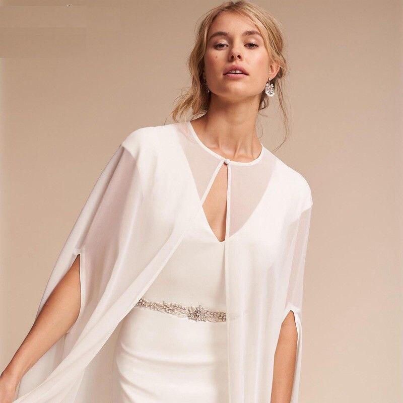 Wedding Dress Accessories Shawl Bride White / Ivory Chiffon Shawl Special Occasion Mermaid Dress Accessories Cloak