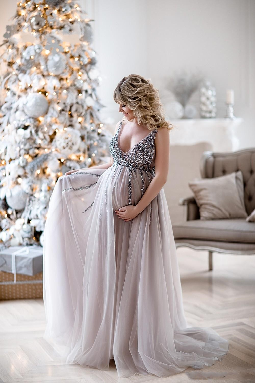 2019 robes de soirée de maternité robes de douche de bébé avec jupe en Tulle a-ligne robe de bal sans manches col en v Tulle Sequin robes de soirée