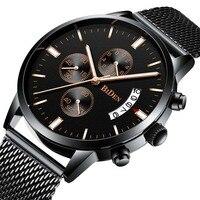 Relógio masculino data de luxo calendário chronogra relógio para homem militar à prova dmilitary água esportes preto aço inoxidável relógios de pulso