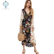 CUERLY 2019 summer party dress women deep V neck sexy dresses floral print long sleeve big hem tight waist lace up boho vestidos цена и фото