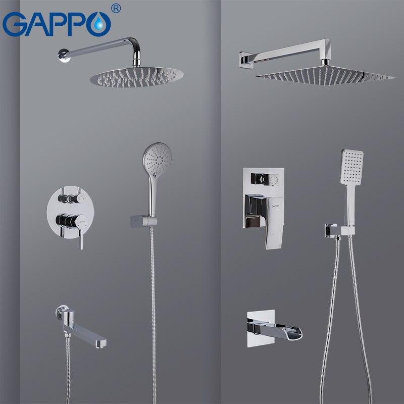 Gappo torneira do chuveiro do banheiro torneiras misturadoras de chuveiro banheira conjunto torneira do chuveiro cachoeira cromo chuva chuveiro cabeça conjunto