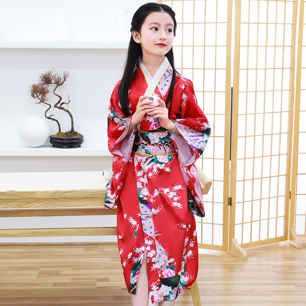 Children Japanese Kimono Bathrobe Gown Print Peacock Yukata With Obitage V-neck Long Sleeve Performace Clothing Cosplay Costume