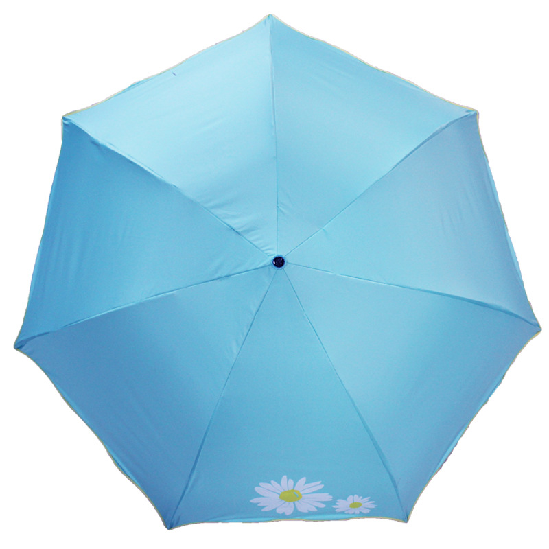 Genuine Product Paradise Umbrella 30443e Fresh Shade Sun-resistant Pongee Vinyl Three Fold Umbrella Customizable Logo