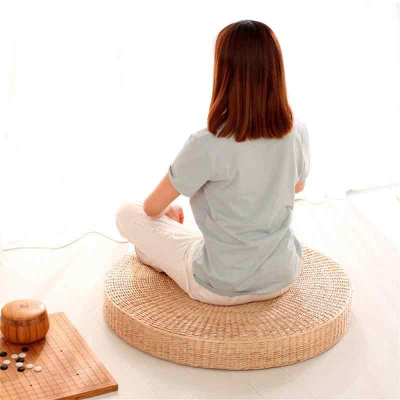 40 Cm Bulat Pouf Lantai Tatami Bantal Kursi Bantal Jerami Meditasi Rotan Upacara Minum Teh Menyembah Buddha Pad Menebal Lembut Yoga mat