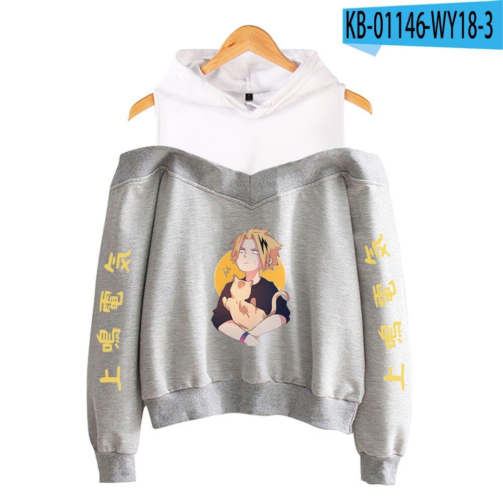 My Hero Academia Hoodies Female Off Shoulder Sweatshirt Women's Pullover Harajuku Streetwear Denki Kaminari 2021 Anime Clothes 19