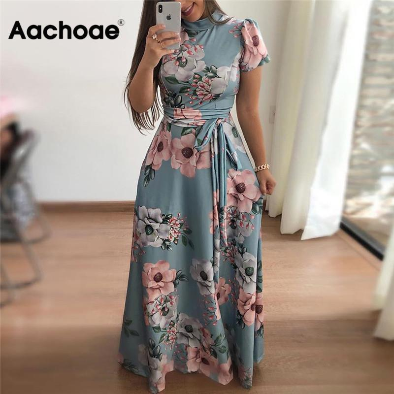 Women Long Maxi Dress 2020 Boho Floral Print Summer Dress Casual Short Sleeve Turtleneck Bandage Bodycon Party Dress Vestidos