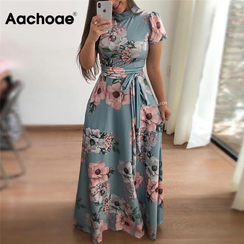 Women Long Maxi Dress 2020 Boho Floral Print Summer Dress Casual Short Sleeve Turtleneck Bandage Bodycon Party Dress Vestidos