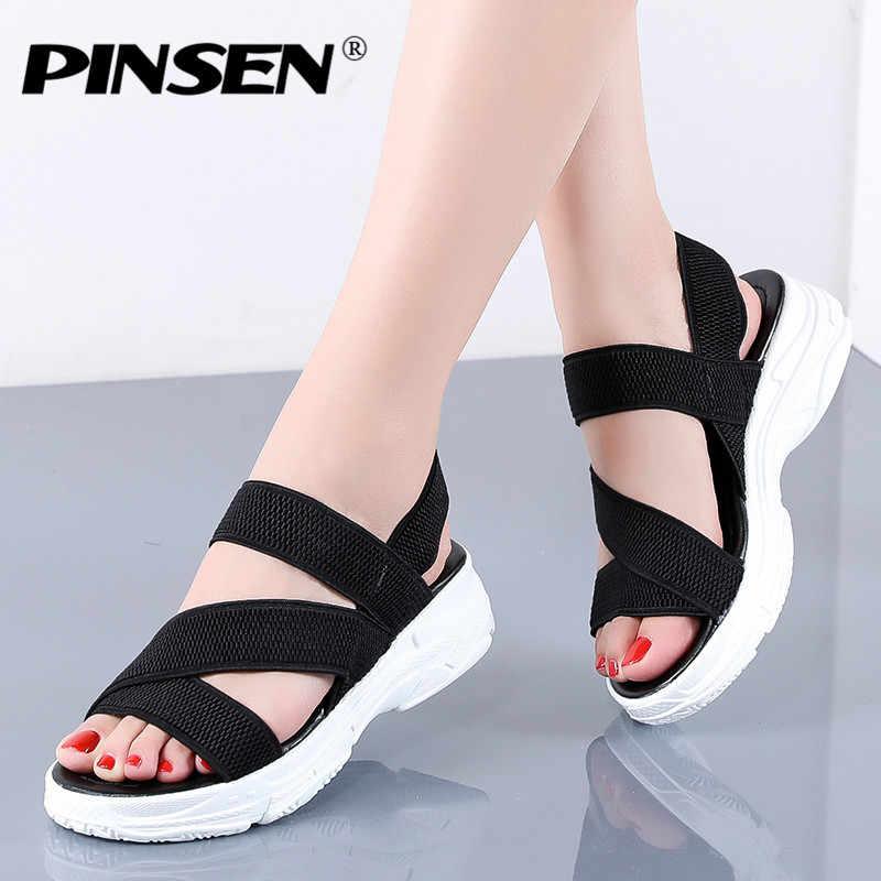 PINSEN 여성 샌들 2020 여름 여성 신발 여성 웨지 편안한 샌들 숙녀 슬립 온 플랫 샌들 여성 Sandalias mujer
