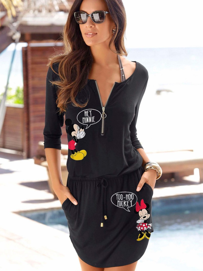 Women Mickey Minnie Mouse Summer Dresses Fashion Clothes Loose Casual Black Pocket Plus Size Dress Vestidos Mujer Club Zippers