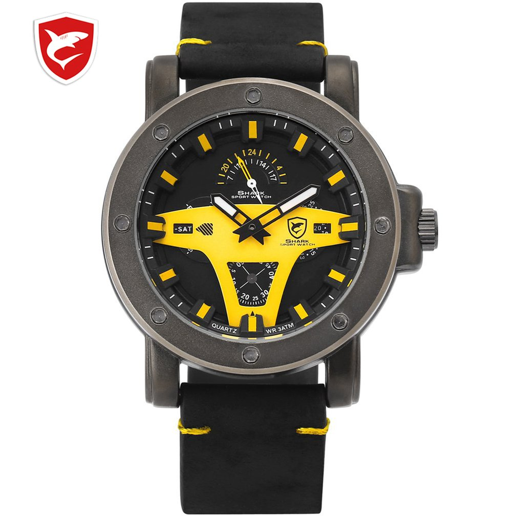 Greenland Shark 2 Series Sport Watch Yellow Date Crazy Horse Leather Band Strap Quartz Men Clock montre homme Wrist Watch /SH455|Quartz Watches| |  - title=