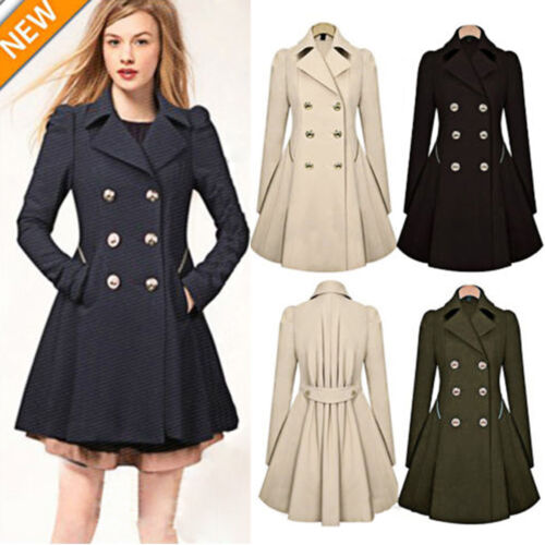 Fashion Womens Stylish Winter Ladies Lapel Buttoned Decor Long Parka Coat Trench Casual Pleated A-Line Outwear Jacket Tops