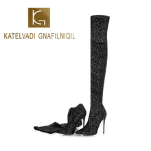 KATELVADI Womens Boots Winter Over The Knee Black Stretch Fabric Catwalk Show Size 34-45 K-579
