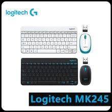 Logitech MK245 USB Nano Wireless 1000DPI Ergonomic Mini Keyboard Mouse Set Computer Peripheral Accessories logitech mk245 2 4ghz wireless mouse and keyboard combos set support waterproof 1000dpi with tiny nano receiver ergonomic design