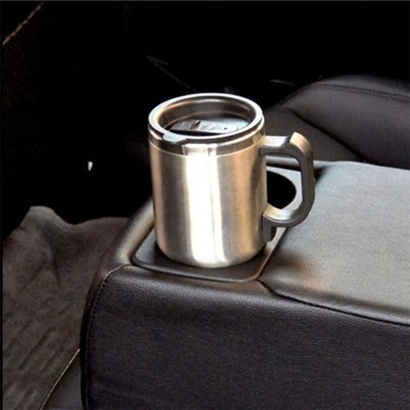 12V Car Heating Cup Stainless Steel Travel Electric Kettle Insulated Heated Thermos Mug 4XFB