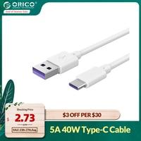 ORICO-Cable de carga USB tipo C 5A, cargador rápido para Samsung, iPad, Huawei, Xiaomi, Macbook Phone, portátil, Cables de datos