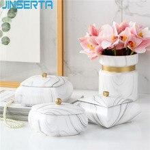 JINSERTA мраморный керамический лоток для хранения ювелирных изделий дисплей тарелка косметический Органайзер роскошный настольный коробка для мелочей с крышкой для декора