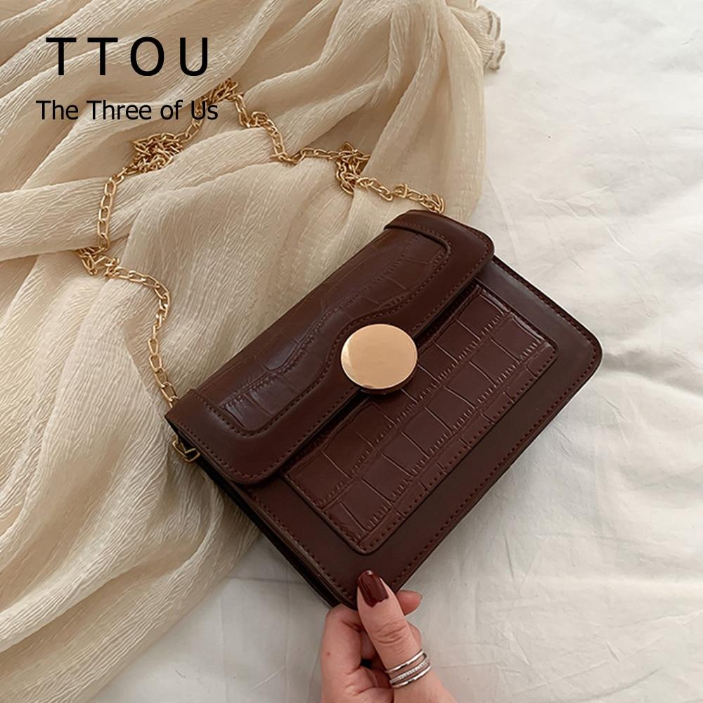 Stone Pattern PU Leather Crossbody Bags For Women 2020 Chain Fashion Small Shoulder Messenger Bag Female Lock Flap Handbags