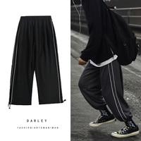 Осенние спортивные штаны, мужские Модные однотонные повседневные штаны для бега, мужские уличные свободные прямые брюки в стиле хип-хоп, му...