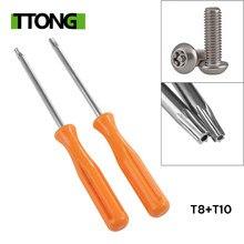 1pc amarelo torx t8 chave de fenda de precisão + 1pc t10 ferramenta chave de fenda de segurança para xbox 360/ps3/ps4 tamperproof buraco