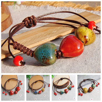 Fashion Beaded Bracelet for Women's Ethnic Color Glazed Circle Ceramic Adjustable Rope Accessory Lady Jewelry China Handwoven image