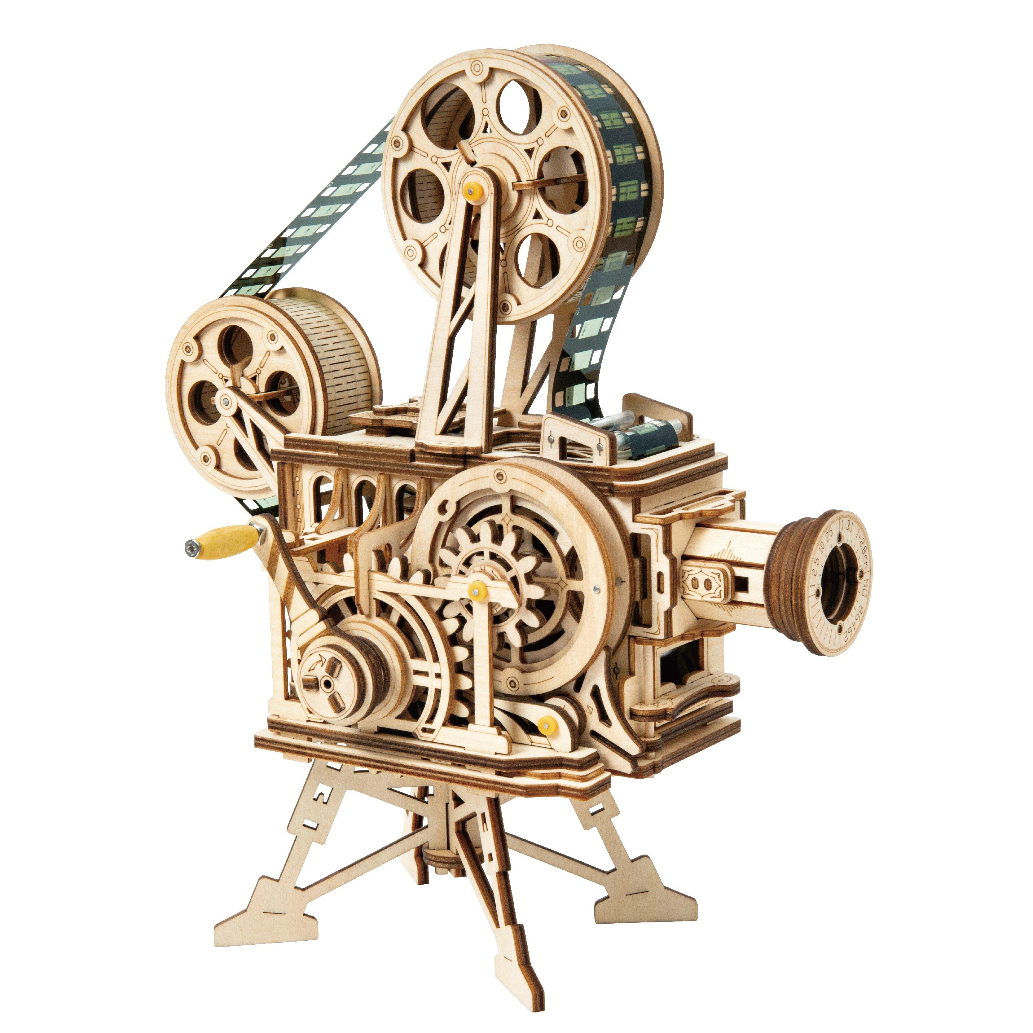 Robotime New DIY Model Building Kits Mechanical Model 3D Wooden Puzzle Film Projector Treasure Train Toys For Children LG/LK/AM