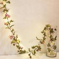 Guirnalda de hojas de flores con luz led de hadas, alambre de cobre, cadena de luces con batería para boda, mesa de bosque, decoración de fiesta en casa de Navidad
