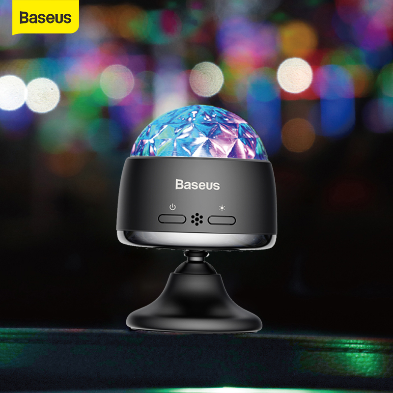 Baseus LED RGB di Cristallo Magic Ball Carica Dell'automobile del USB <font><b>Auto</b></font> Interni Atmosfera di Luce per il Proiettore Del Partito Luci Flash Luci DJ casa image