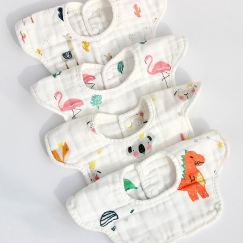 2pcs/set Gauze Baby Bibs Baby Scarf 8-Layers Infant Baby Feeding Bibs Cute Soft Saliva Towel Baby Bib