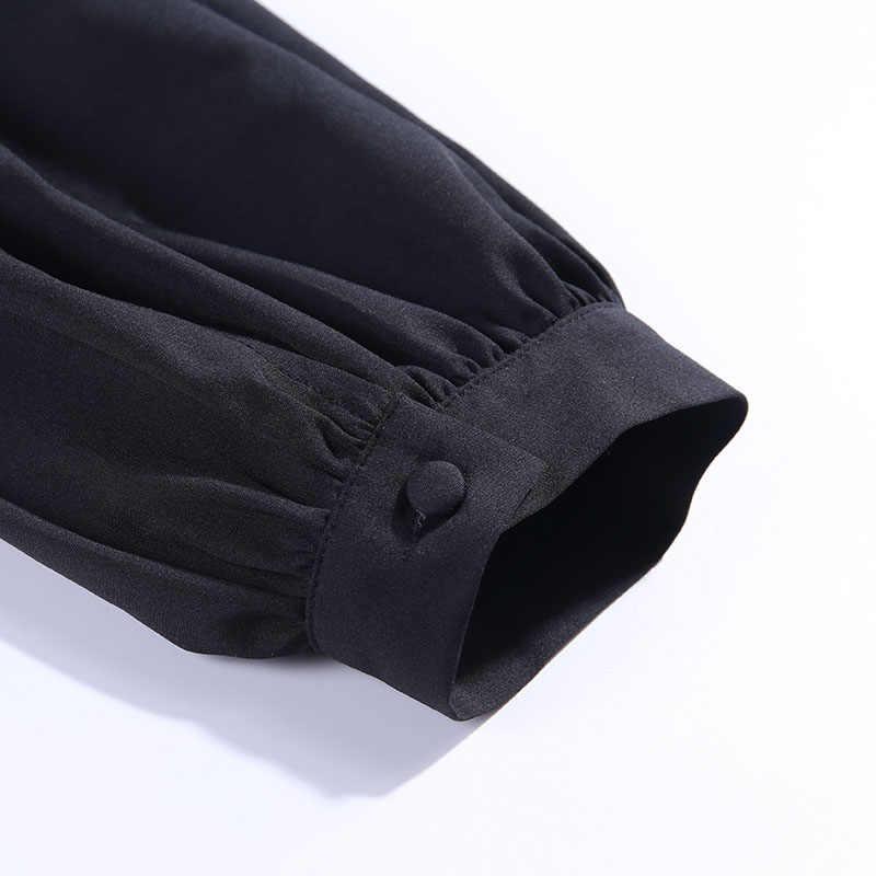 WannaThis блузки женские 2019 сексуальные с глубоким v-образным вырезом черные кнопки фонаря с длинным рукавом тонкие Модные осенние новые элегантные женские рубашки Топ