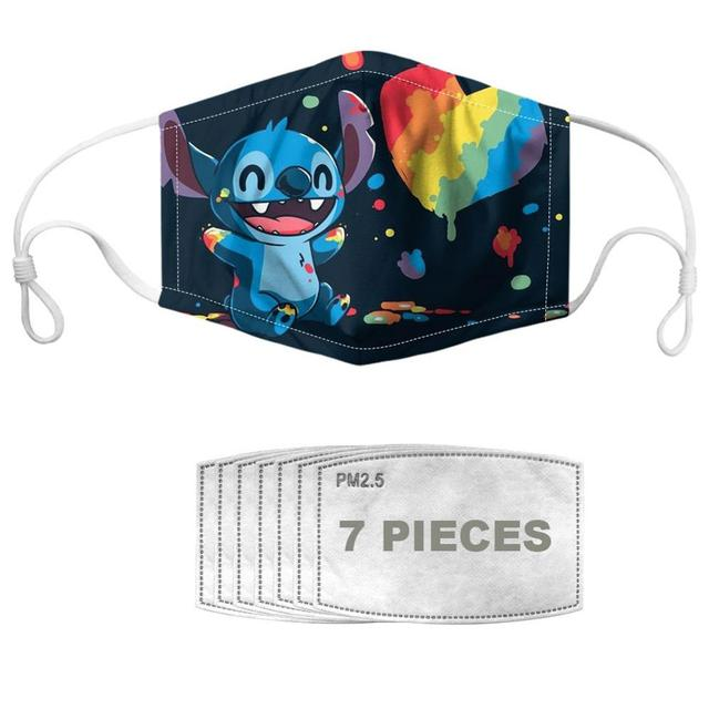 NOISYDESIGNS Kids Mouth Masks Stitch Printed Cartoon Reusable Boys Girls Children's Face Cover Mascaras Enfant Mascarillas