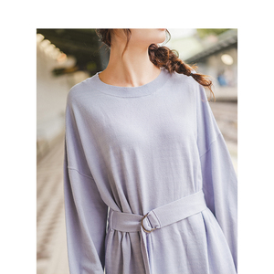 Image 4 - INMAN Spring Autumn O neck Drop shoulder Sleeve Solid Loose Casual With Belt Women Jersey Dress