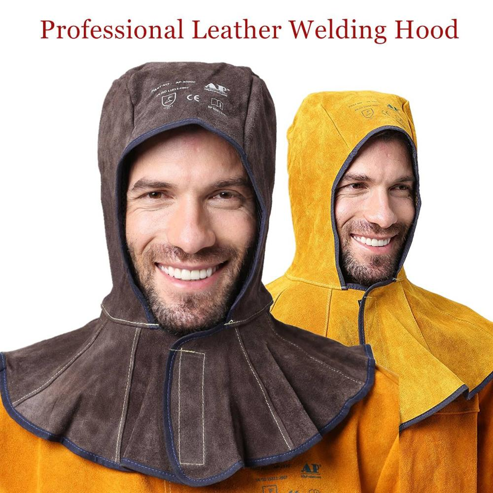 Professional Welding Hood Split Cowhide Leather Welder Hat Cotton Mesh Lining Anti Flame Stitched CE for Welding Helmet