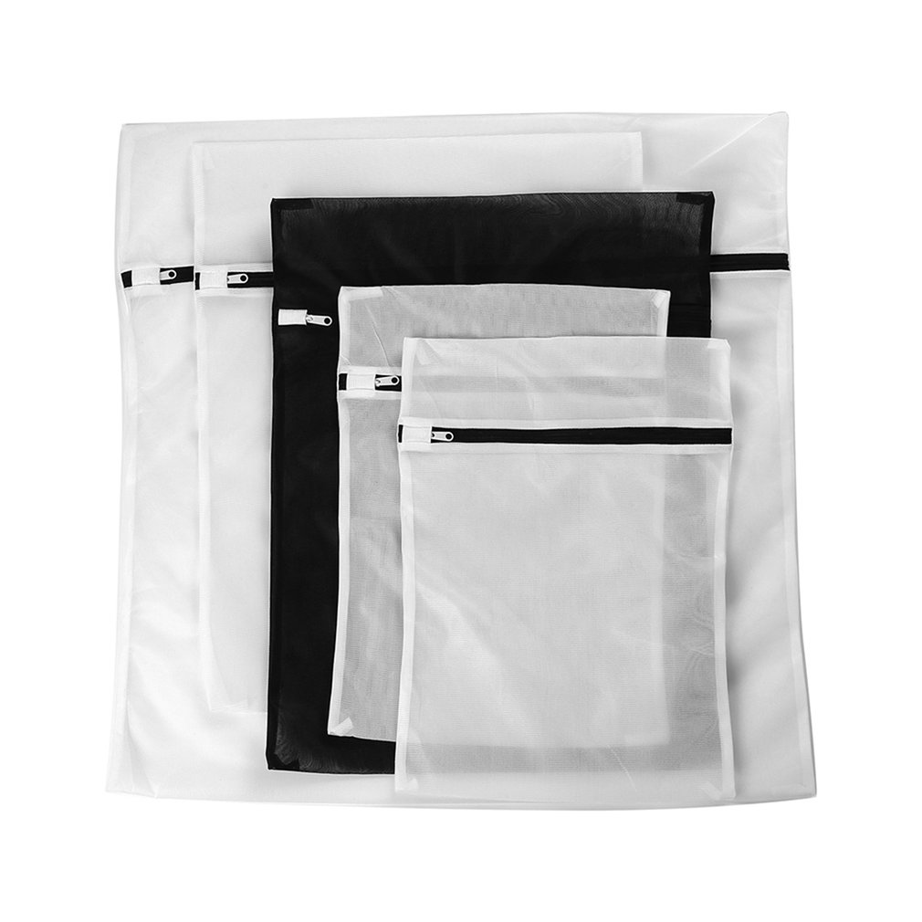 4/5pcs Mix Size Mesh Laundry Bags Washing Bra Lingerie Drying Bags With Zipper Protecting Wash Machine Bags Set