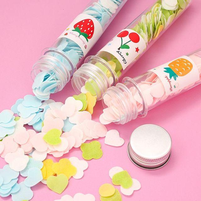 5 Bottles Mini Soap Paper Sheet Flower Shape Disposable Scented Slice for Travel 2