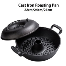 Multipurpose Roasting Pan For Steak Meat Cast Iron Baking Pot Sweet Potato Corn Chestnut BBQ Roaster Brazier 22cm/24cm/26cm