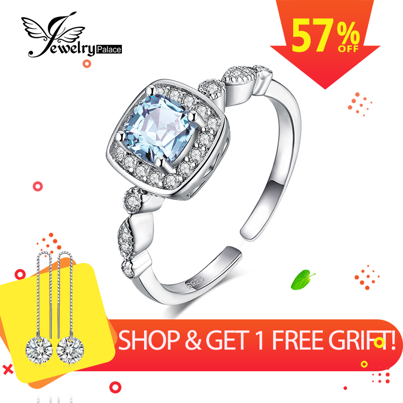 JewelryPalace 1ct Genuine Blue Topaz Ring 925 Sterling Silver Rings For Women Halo Engagement Ring Silver 925 Gemstones Jewelry