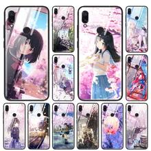 anime Plum Cherry blossom girl Tempered Glass Case for Redmi Note 6 7 8 Pro 8T 9T K20 K30 Xiaomi