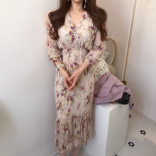 VICONE French printed chiffon dress temperament falbala v-neck accept waist show thin fishtail Dresses