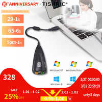 TISHRIC New 5HV2 7.1 External USB Sound Card 3.5mm Interface Audio Adapter Card With Microphne Headphone Speaker for Mac Laptop