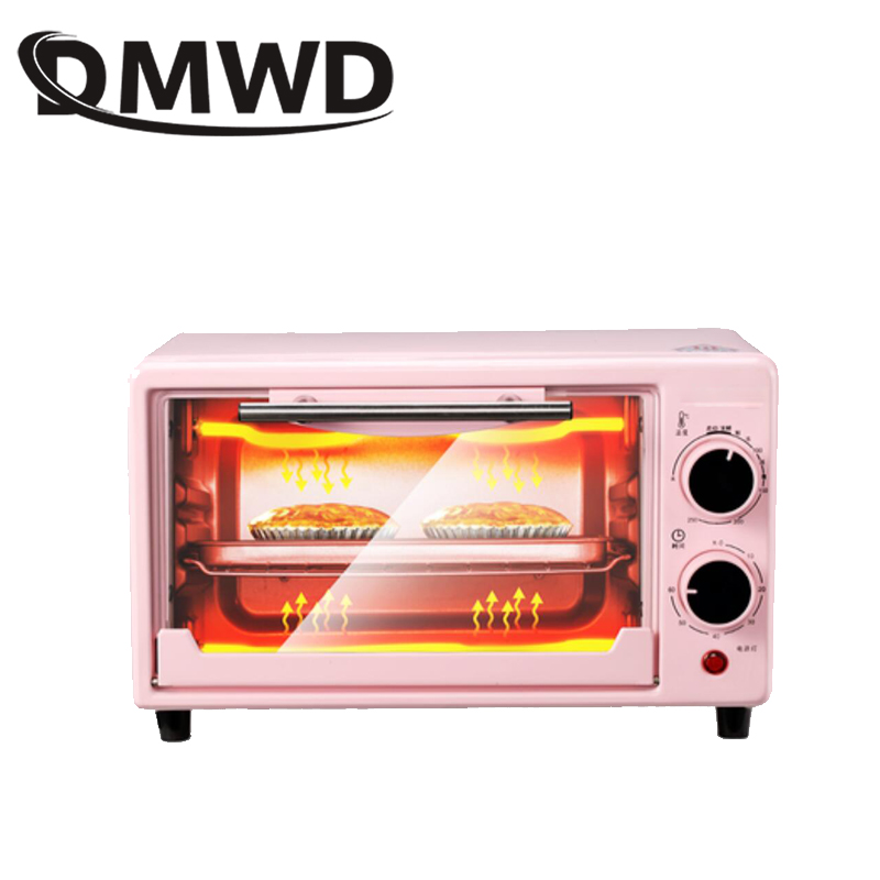 DMWD Mini Electric Oven Multifunctional Bread Toaster Pizza Cake Baking Grill Automatic Roasted Chicken Stove Machine 10L EU US