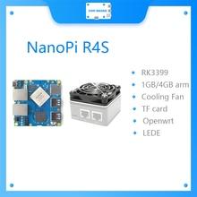 Gateways duplos rk3399 dos ethernet de nanopi r4s 1gb/4gb com sistema refrigerando do lede do apoio openwrt v2ray ssr linux rockchip