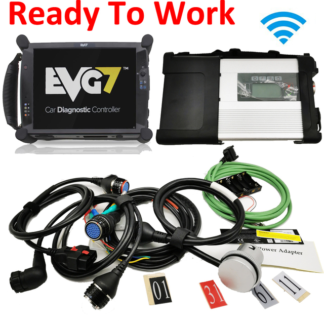 With laptop MB STAR C5 Wifi Diagnostic Interface Best EVG7 Tablet 2020.06 MB Star SD Connect C5 Software Work Directly SSD HDD